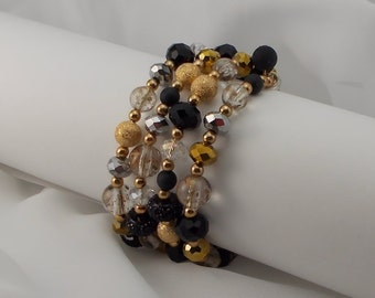 Vintage Crystal, Gold, and Black Glass Bead Cuff Bracelet  2157