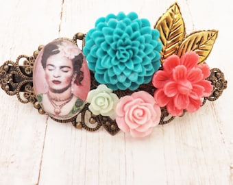 Mexican Frida Kahlo  Inspired Vintage Boho Hair Barette / Vintage Inspired Bridesmaids Gift  / Mexican Vintage Wedding / Boho Beach
