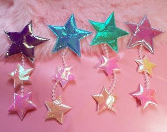 FAIRY iridescent falling STARS dangler HAIR clip