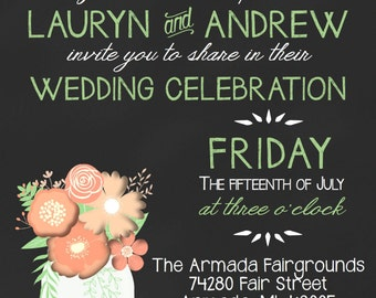 Outdoor Wedding Invitation-Country, Twinkly Lights, Mason Jars