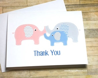 Elephant Thank You Cards, Blue Baby Boy Elephant Baby Shower Thank You Cards, Elephant Thank You Cards, Blue Baby Elephant Cards
