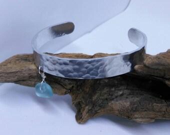 Lake Erie Sky Blue Sea Glass Cuff Bracelet