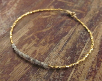 Rough Diamond Bracelet Raw Diamond Bracelets April Birthstone Bracelet Beaded Bracelets Gold Bead Bracelet Womens Gift Raw Diamond Jewelry