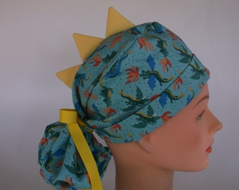 Flying Dragons Ponytail - Womens lined surgical scrub cap, scrub hat, Nurse surgical hat, 116+5550w