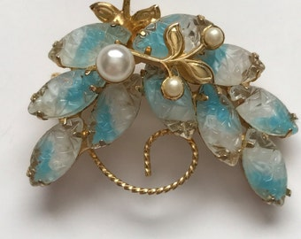 VINTAGE MOLDED GLASS Brooch with Faux Pearls, Molded Marquis Stones, infused with Blue, Gold tone setting