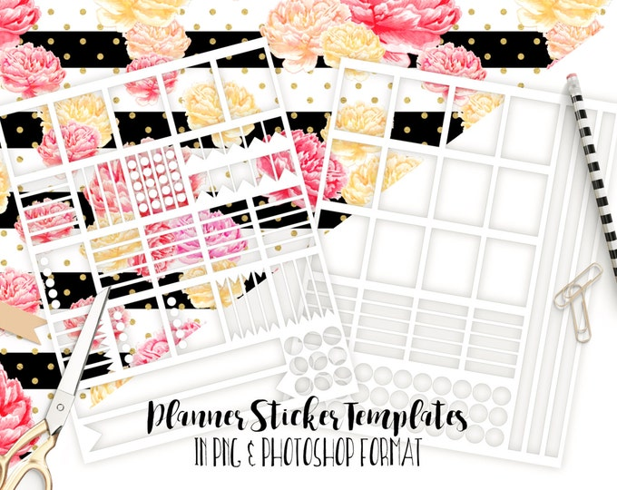 PLANNER STICKER TEMPLATES Personal Use Blank Diy Sticker Templates Life Planner Digital Stickers Erin Condren Planner Template Png Photoshop