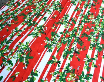 Vintage Christmas Tablecloth - Red and White Stripe Mistletoe - 54 x 76