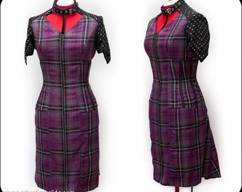 Purple Tartan Studded Punk Pam Dress