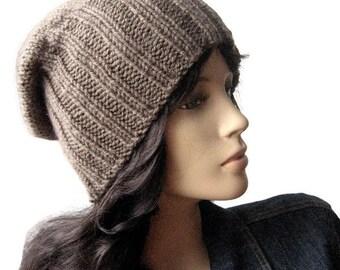 Hand Knit Hat, The Alex Hat, Watchman Cap Slouchy Hat, Vegan Knits Fisherman Hat, Mens Hat Womens Hat
