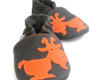 soft sole baby shoes handmade infant gift  goat orange black 2 3 chaussons chaussurese garcon fille bebes cuir souple ebooba GT-1-B-T-5