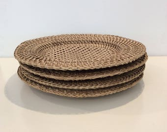 Set of 4 Woven Rattan Chargers