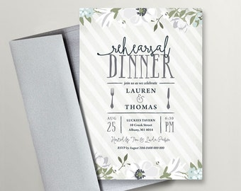 Printable Wedding Rehearsal Dinner Invitation - Gray and White  (RD70)