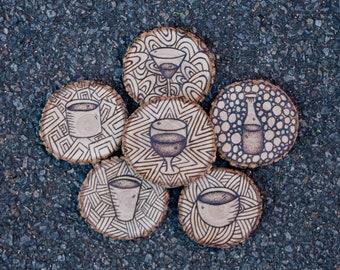 Woodburning Coaster set - made to order