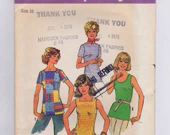 FF Simplicity 7533, Misses' BOHO Tops 1970s Vintage Sewing Pattern, Retro 70s, Size 16, Bust 38, UNCUT Factory Folded