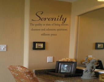 Serenity Definition Wall Decal/Wall Lettering/Wall Tattoo