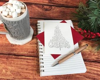 Merry Christmas Tree Card, Individual Foil Tree Card with Envelope, Christmas Cards (Tree3-F)
