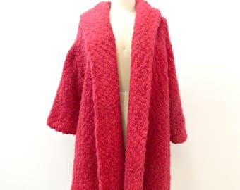 Vintage Swing Coat ... 1960s  Pink  Mohair Coat ... Large Stitch Crochet Coat ... Open Front ... Size Medium to Large