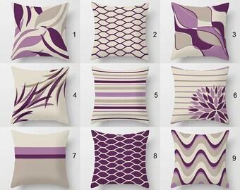 Purple Pillow Cover, Lavender Mauve Lilac Violet Beige Pillows Purple  Cushion Geometric Pillows Toss Pillow Throw Pillows 18x18 20x20 26x26