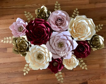 12 pc Giant Paper Flowers, wall decor, nursery, Customize your colors!
