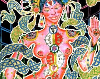 Chakra Girl UV Black Light Fluorescent & Glow In The Dark Phosphorescent Psychedelic Psy Goa Trance Art Postcard