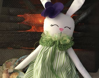 Easter basket bunny plush rag doll limited edition soft doll rabbit