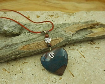 Megalithic Spiral Heart Trinity Red Jasper necklace