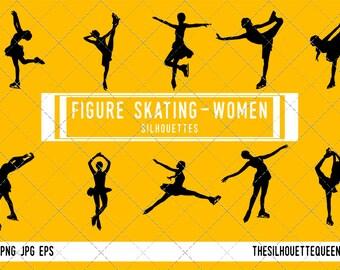 Woman Figure skating silhouette, Female Figure skating clipart, Girl sports vector, Girls Svg, png, eps,   jpg