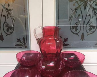 Vintage Blown Cranberry Glass Pitcher/Jug with Five Matching Cranberry dishes