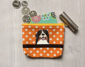 Bernese Mountain Dog Coin Pouch, Dog Coin Purse, Dog Lover Gift, Polka Dot Fabric, Gift For Her, Dog Birthday Gift, Small Fabric Pouch