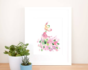 Abstract Dancer Art Print, boho watercolor art, nature art print, happy watercolor, calming art print, energy movement art, swirling leaves