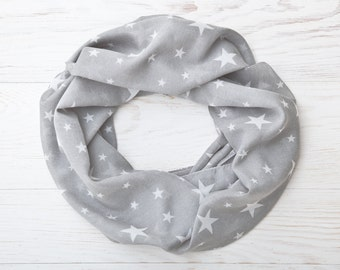 Summer Scarf with Stars Gray Womens Scarves Infinity Scarf Valentine's Day Gift, Girlfriend Gift, Bridesmaid Gift Idea, Beautiful Scarf