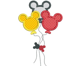Mouse Ears Balloons Applique Machine Embroidery Design, Birthday Balloons, Party Balloons Embroidery, 3 Sizes, Instant Download, No:SA535-12