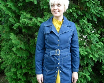 ON SALE 30% Off Coat Vintage Sailor Trench 1970s Navy Blue Nautical Autumn Jacket with Belt
