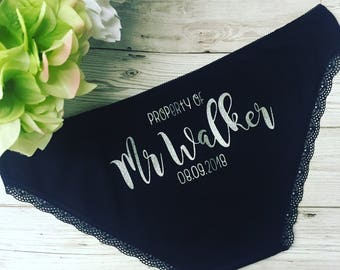 Personalised Bride Knickers - Bride Underwear - Hen Party - Bridal Party - Personalized Thong - Property of.....