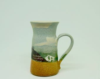 Wheel Thrown; Pottery Mug; Approx. 3 x 5 in.; Manitoba Agriculture; Fine Craftsmanship !!!