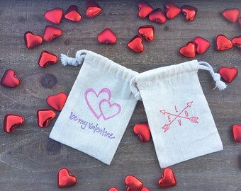 Valentine Muslin Gift Bags-Set of 12 or 24