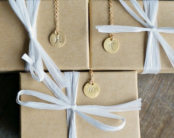 Personalized Initial Gold Dot Necklace // Softly Brushed Monogram Disc Pendant on a 14k Gold Filled Chain • Custom Jewelry • Gift For Her