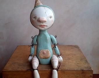 Jeremy the clown, art doll, clay doll