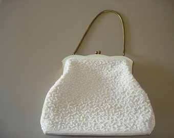 White Beaded Vintage Purse