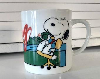 Vintage Snoopy Coffee Mug Woodstock My Mug Boss Peanuts Cartoon Characters Talking on Phone Office Gift For Coworker