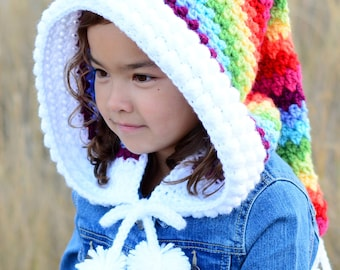 CROCHET PATTERN - Over the Rainbow Hood - a crochet fairy hood pattern, pixie hood pattern (Child & Adult sizes) - Instant PDF Download