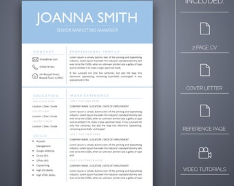Resume Template One -4 Pages Inc Cover Letter, Microsoft Word, Instant Download, Professional Resume Template, CV Template, CV Template Word