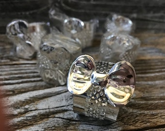 6 Silver Plated Bow Napkin Rings Filagree Cutwork
