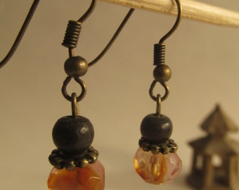 2207 - Earrings Smoked Crystal and Wood