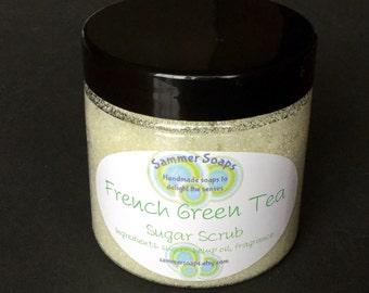 Sugar Scrub with Hemp Oil, Gentle Hand Scrub, French Green Tea Scented Hand Scrub, 4 or 8 oz Sugar Scrub