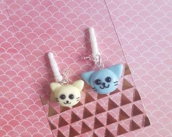 Polymer Clay Cat Dust Plug Charm