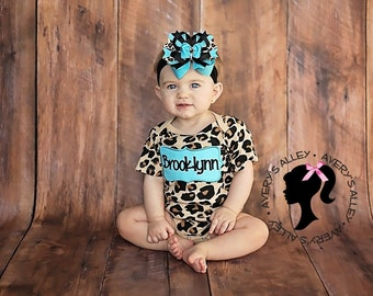 Aqua Frame with Personalized Name on Leopard Print Bodysuit & Matching Hair Bow Set for Girls