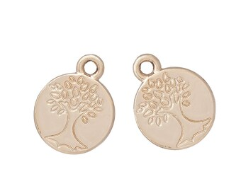 x 2 pendant 12 mm tree of life charm Locket gold tone pink.