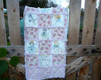 Free Shipping Pink Drawn Child Baby Rag Quilt, pink rag quilt, girls and boys dawings, flowered rag quilt, ready to ship