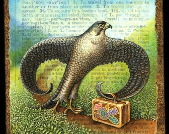Wanderlust painting, Peregrinate:  Peregrine falcon with suitcase walks a mountain trail. Travel art,  travel gift, bird art, letter P